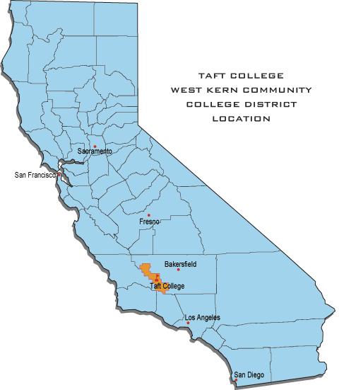 Taft College Campus Map.Taft College Boundaries In California